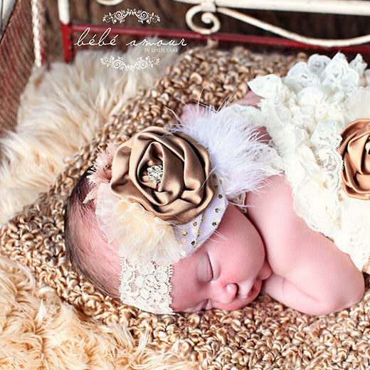 Baby Headband..Girl Rustic Beige Headband...Hair Accessories..Tea Party..Flower Girl Hair Accessories..Handcrafted Baby Girl Headband