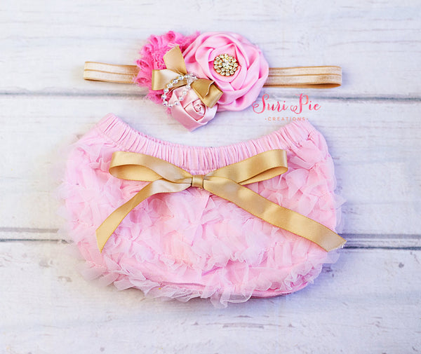 Pink Gold Lace Ruffle Bum Baby Bloomer..Baby Bloomer Headband Set..Cake Smash Outfit.Newborn Photography Prop.Diaper Cover..Ruffle Bloomer