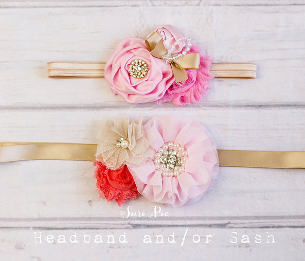 Pink Gold Vintage Headband or Sash..Flower girl Headband.Cake Smash Headband..Baby Girl Headband..Baby Headband..Newborn Headband