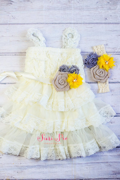 Rustic Flower Girl Dress..Vintage Yellow Gray Ivory Lace Flower Girl Dress..Cowboy Girl Outfit.Flower Girl Gift...Photography Prop