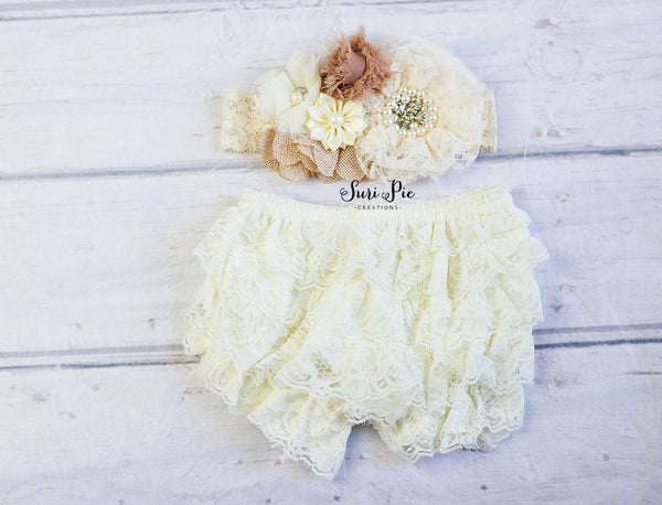 Ivory Rustic Baby Clothing Ruffle Bloomer..Diaper Cover...Vintage Girl Cake Smash Outfit..Baby Bloomer Headband Set..Newborn Prop