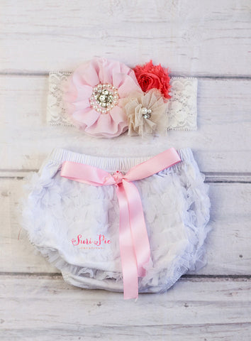White Pink Cake Smash Girl Ruffle Bloomer Headband Set..Diaper Cover...Vintage Girl Cake Smash Outfit..Baby Bloomer Headband Set..Newborn Prop