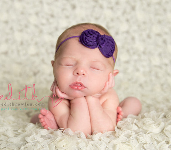 Baby girl headband...newborn headband...photography prop..purple Shabby bow Headband