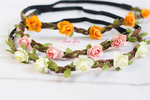 Flower Crown...Newborn-Adult sizes..Baby Flower Crown Headband..Bohemian Headband..Halo Headband