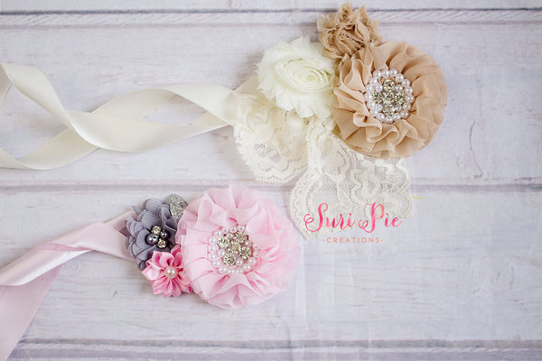 Rustic Flower Girl Sash..Bridal Sash..Maternity Sash.Romper Sash.Flower Girl Dress Sash..Baby Girl Clothing.1st Birthday. Photo Prop