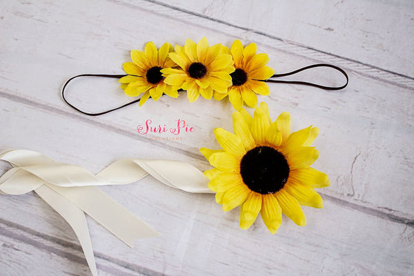 Sunflower crown...Boho Headband. Halo Headband..Flower Crown..Baby Headband..Rustic Burlap Wedding Headband..Baby Headband