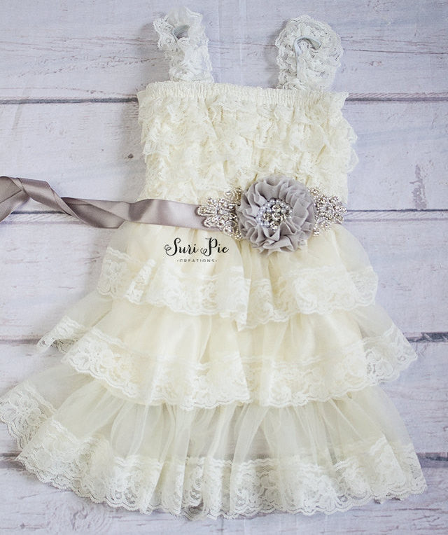 Rustic Flower Girl Dress And Sash Cowboy Flower Girl Rustic