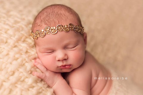 Dainty Gold Crown Headband..Infant-Adult Headband..Baby Girl Halo..Beaded Crown Headband..Girls Adult Headband..Baby Girl Headband..Toddler.