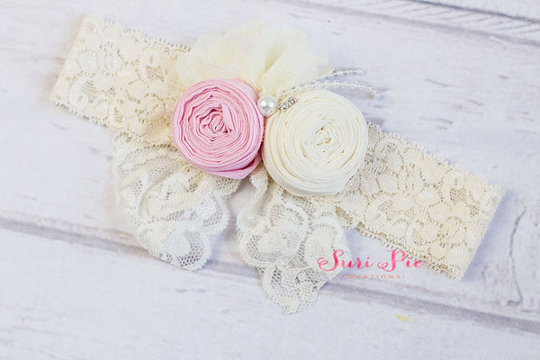 Baby headband..Lace Headband..Newborn Bows. Pink Headband...Photography Prop..Vintage Tea Party Headband...