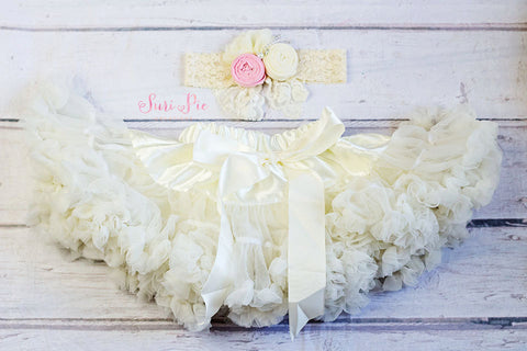 Flower Girl Outfit..Ivory Tutu Skirt..Lace Petti Skirt Headband Set..1st Birthday Outfit.Baby's Birthday Outfit.Tutu Dress..Smash the Cake..