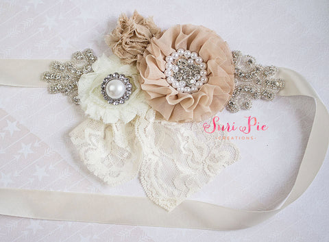Rustic Flower Girl Sash...Burlap Sash..Bridal Belt / Sash..Bridesmaid Sashes..Maternity Sash...Ivory  / Flower Girl Sashes / Beige Ivory