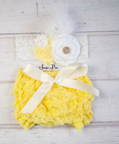 Yellow Lace Ruffle Bum Baby Bloomer..Lemonade First Birthday Outfit..Bloomer Headband Set..Lemonade Cake Smash..Lace Bloomer Headband Set