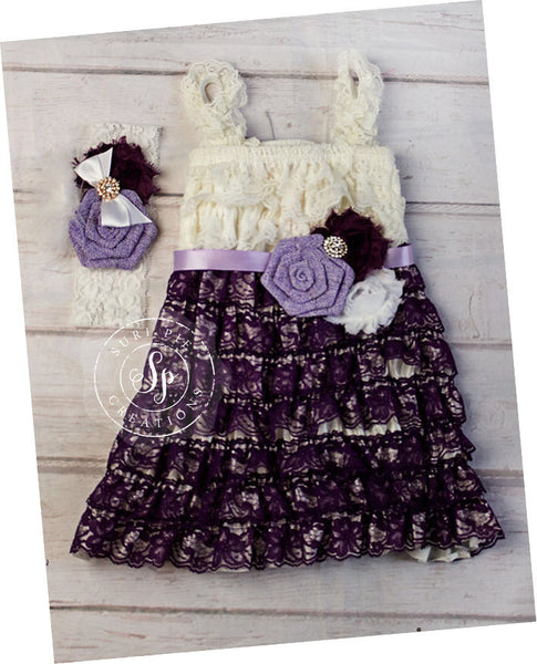 Petti Lace Dress..Plum Lace Dress..Flower Girl Dress...Birthday Outfit...Petti Lace Dress..Cowboy Flower Girl...Plum White Sash..Headband
