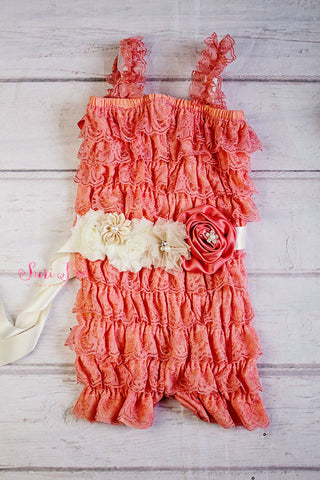 Coral Lace Petti Romper..Baby Girl 1st Birthday Outfit ..Cake Smash Outfit...Flower Girl Sash..Bridesmaid Sash...Newborn Outfit..