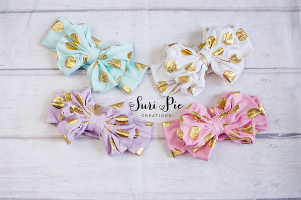 Gold Polka Dot Messy Bow..Gold Pastel Headbands..Floppy Bow.. Messy Bow headband, baby headbands,  top knot..messy bow, floppy bow headband