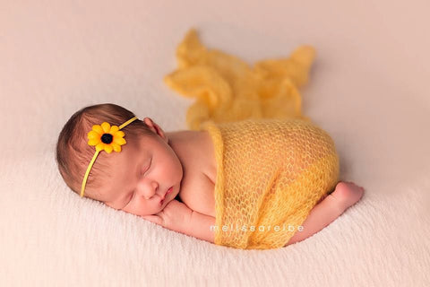 Baby Headband, Flower Headband, Sunflower Headband For Girls, Small Bows, Baby Bows, Baby Girl Headband, Newborn Gift, Itty Bitty Bows