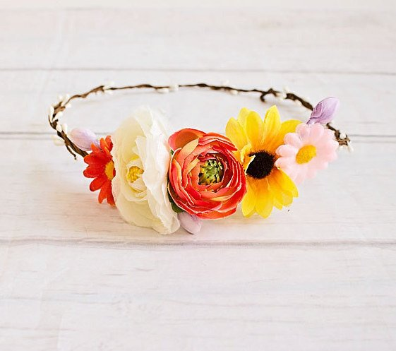 Flower Crown, Sunflower crown, Boho Headband, Flower Girl Halo Headband, Baby Headband, Rustic Wedding Headband, Flower girl headband