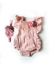 Load image into Gallery viewer, Mauve Boho Baby Girl Romper Set (6M-24M)