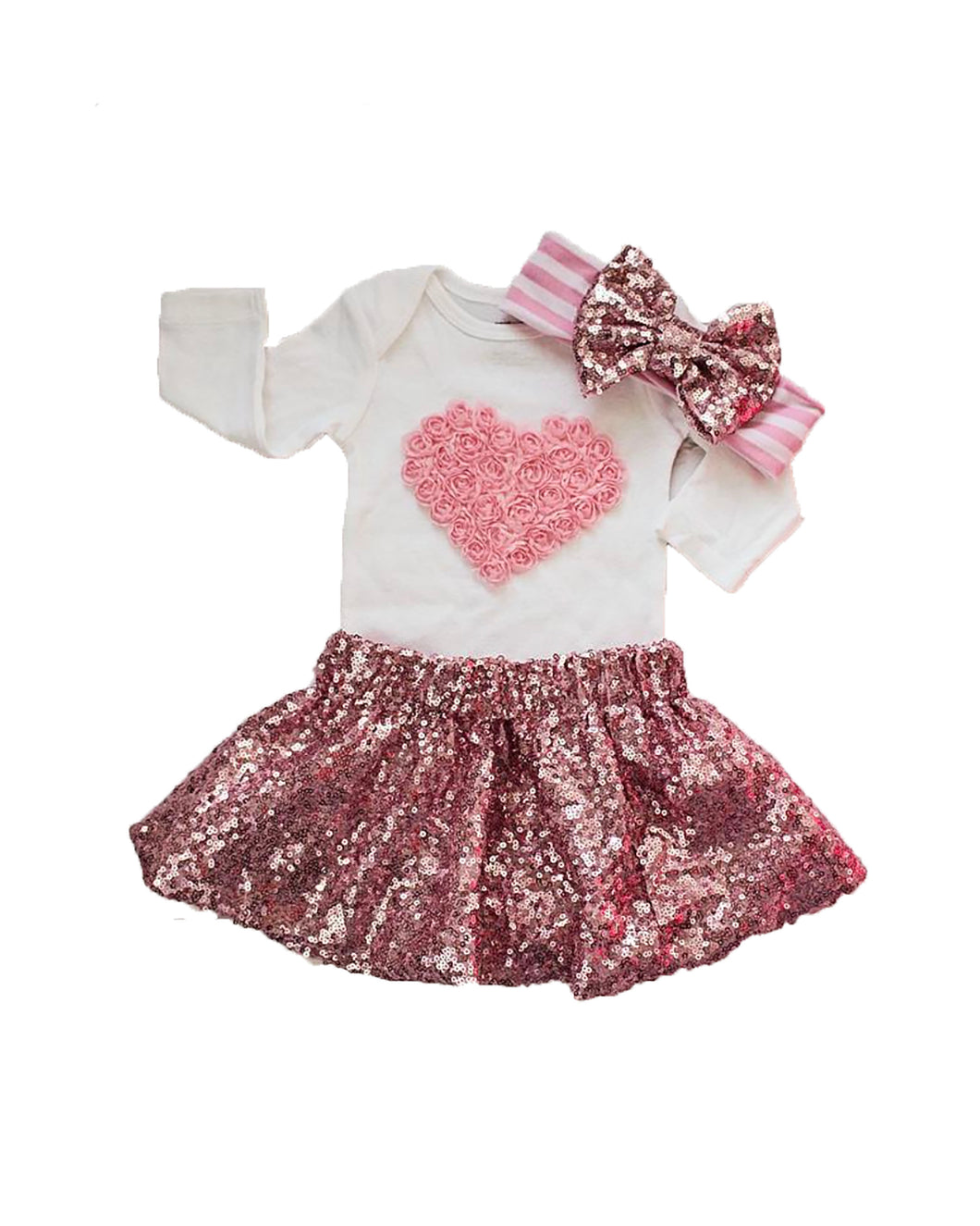 Valentines Day Outfit for Newborn-Infant-Toddlers. Pink skirt, heart bodysuit and pink headband