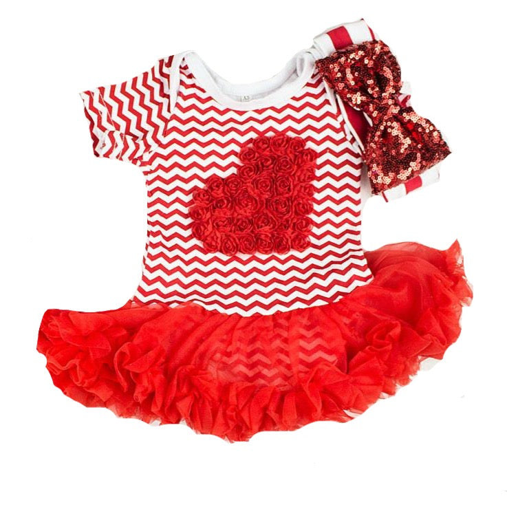 Red heart valentines Outfit for Baby Girls (Newborn-Toddlers)