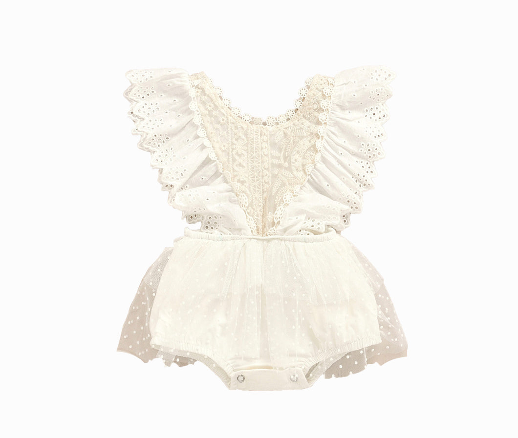 Boho Off white Lace Ruffle Romper One Piece Jumpsuit