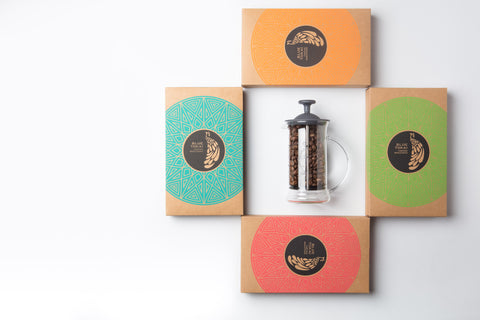 Gift - 4 Pack (75g each) + French Press- Buy Freshly Roasted Coffee Beans Online - Blue Tokai Coffee Roasters
