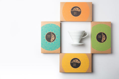 Gift - 4 Pack (75g each) + Ceramic Pour Over- Buy Freshly Roasted Coffee Beans Online - Blue Tokai Coffee Roasters