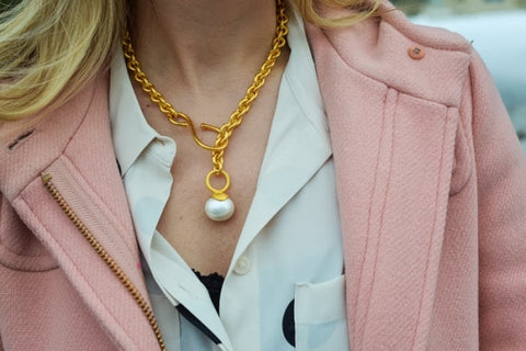 Chunky Chain & Pearl Pendant Necklace