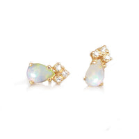 Opal & Diamond Crown Stud Earrings