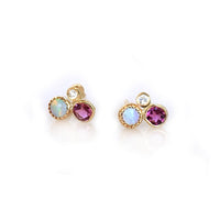 Opal, Diamond & Pink Tourmaline Cluster Stud Earrings