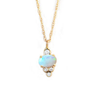 14k Gold Opal & Diamond Sundae Pendant Necklace