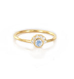 14k Gold Moonstone & Diamond Ring