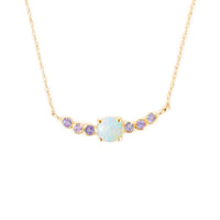 14k Gold Opal & Tanzanite Pendant Necklace