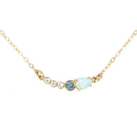Opal, Diamond & Blue Topaz Necklace