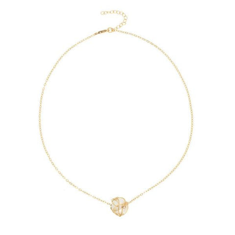 14k Gold & Black Diamond Wishbone Necklace