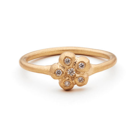 14k Gold Flower Diamond Ring
