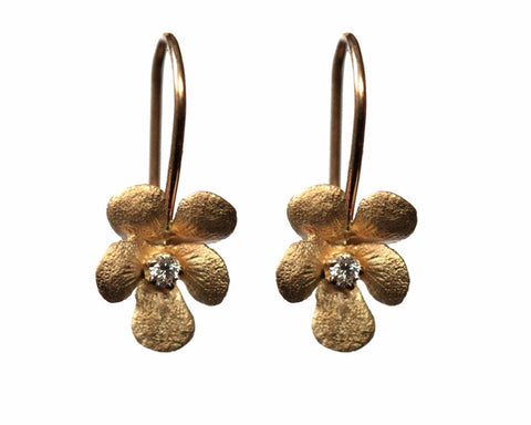 14k Gold Flower Diamond Drop Earrings