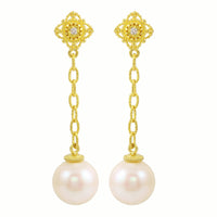 Arabesque Diamond & Pearl Dangle Earrings