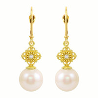 Arabesque Diamond & Pearl Drop Earrings