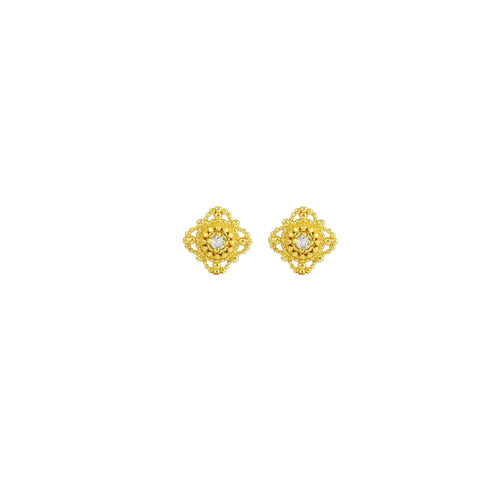 14k Gold & Diamond Flower Drop Earrings