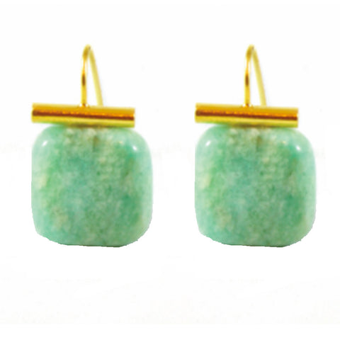 18k Gold Green Agate Drop Earrings