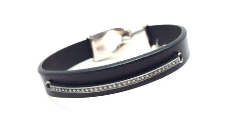 Diamond Bar Black Leather Bracelet