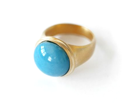 18K GOLD BLUE QUARTZ SIGNET RING - Size 6.5