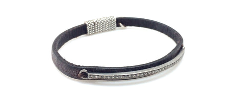 Skinny Diamond Bar Brown Leather Bracelet