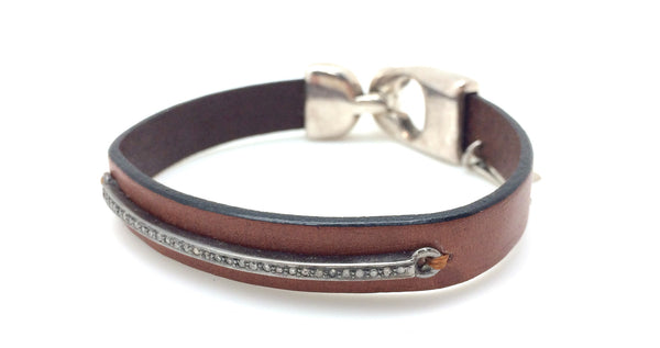 Diamond Bar Brown Leather Bracelet
