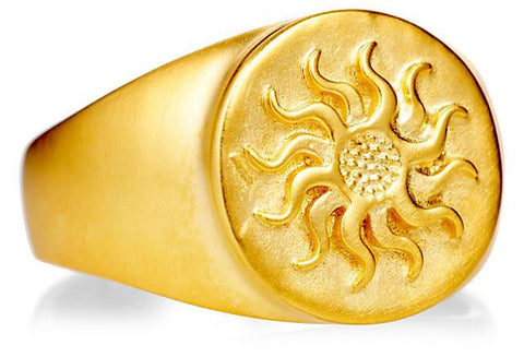 18K GOLD SUNBURST SIGNET RING