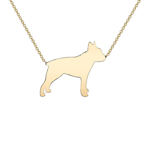 14k Gold Boston Terrier Pendant Necklace