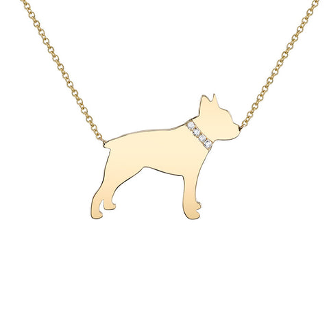 14k Gold & Diamond Boston Terrier Pendant Necklace