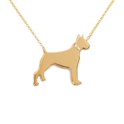 14k Gold & Diamond Boxer Pendant Necklace