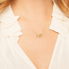 14k Gold & Diamond Bulldog Pendant Necklace